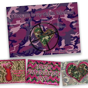 Girl Camo Valentines Cards - Girls Classroom Valentines - Pink Camo Valentines Day Cards - Purple Camo - Hunting - Deer - Sights - Redneck