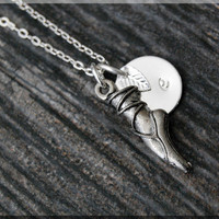 Silver Ballet Slipper Charm Necklace, Initial Charm Necklace, Personalized, Dancer Charm, Ballerina Pendant, Dancing Jewelry