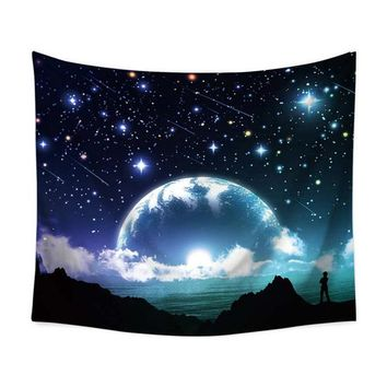 Globe Starry Galaxy Tapestry