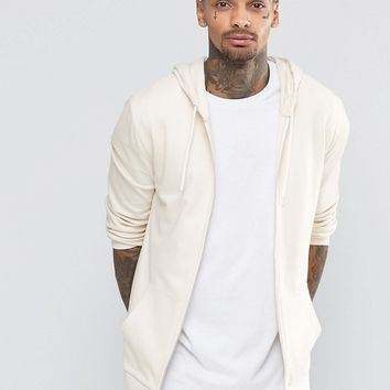 ASOS Longline Zip Up Hoodie In Off White