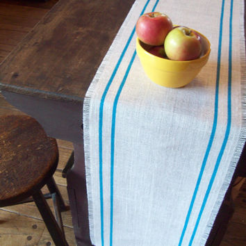 Burlap Table Runner with Hand Painted Turquoise Double Stripes 12 x 96 or Choose Your Own Colors by North Country Comforts