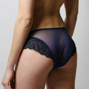 sheer panties with lace trim - SEA Glass range - made to order