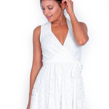 Lexi Lace Wrap Dress in Pearl