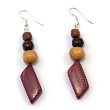 TICA SURF Unique fancy exotic wood pendant earrings - Multi beads prism - EE1127