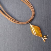 Brown Necklace, Brown Faux suede and Carmel Colored Bead with Dangles, Gold Filled Chain and Wire