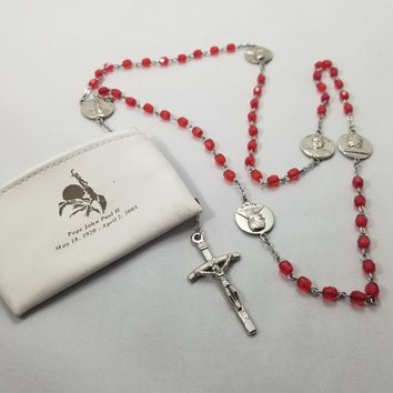 Pope John Paul the ii commemorative rosary with red faceted glass beads