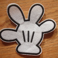 Disney Mickey Mouse Classic White Hand Iron on Patch, Applique, Sewing patch