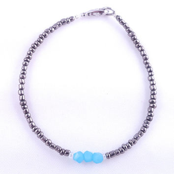 Silver + Ice Blue Minimalist Bracelet // Faceted Ice Blue Beads // Simple + Stunning Seed Bead Bracelet