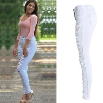 Slim Denim High Waist White Jeans