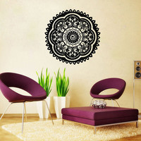 Mandala Wall Decal Namaste Flower Mandala Indian Lotus Yoga Wall Decals Vinyl Sticker Interior Home Decor Art Wall Decor Bedroom SV6027