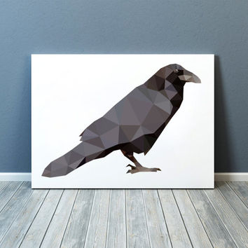 Bird print Raven poster Geometric art Wall decor TOA66