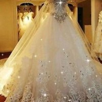 Luxury Ivory Bridal Wedding Dresses with Attachable Train Custom Size 2 4 6 8