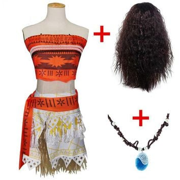 Cool Princess Moana Cosplay Costumes for Children Adult Moana Clothes with Necklace Wig for Women Halloween Costumes Kids Girls GiftAT_93_12