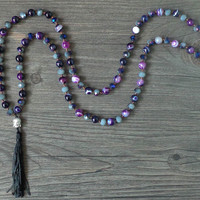 Natural agate beads / crystal / Buddha Mala Beads Tassel necklace Spiritual Yoga Jewelry women long necklaces