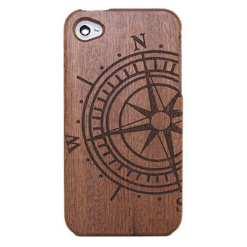 Compass Carving Wooden Phone Case for iPhone 4 / iPhone 4S