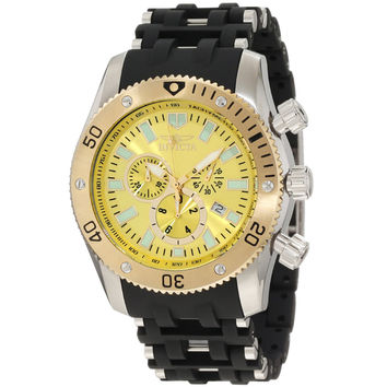 Invicta 10253 Men's Sea Spider Gold Tone Bezel Yellow Sunray Dial Black Rubber and Steel Bracelet Chronograph Watch