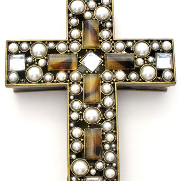 Nikky Jeweled Cross Trinket Box with Rhinestones & Pearls