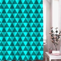 blue triangles shower curtain adorabel batheroom hane made
