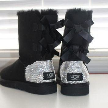 DCCK8X2 Women Ugg Australia Bailey Bow Boots made w Swarovski Crystal Elements Size 16ss ANY C