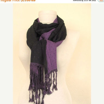 Double-layered Scarf / Two Sided Scarf / Black- Purple / Black scarf / Purple scarf / long scarf