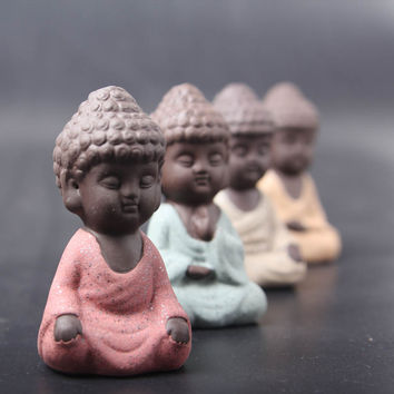 ceramic Buddha statue monk Yixing tea pet boutique car accessories auspicious ornaments sand flower garden decoration
