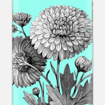 iPhone 6 case floral, iPhone 5s case mums, teal iPhone 6 case, iPhone 5c case, multi color cell case, cellcasebythatsnancy