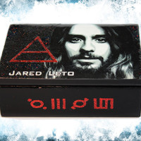 Jared Leto gift jewelry box , 30 seconds to mars gift, handmade small glitter wooden box, girls ringbox, trinket box, home decor, collectors