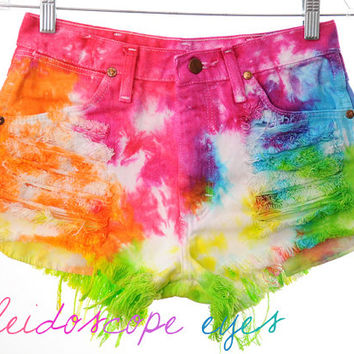 Vintage Wrangler Rainbow COLORFUL Tie Dyed Denim High Waist Cut off Shorts S
