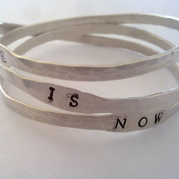 Life Is Now, Sterling Silver,Bangle Bracelet, Personalized Bracelet, Yoga Jewelry