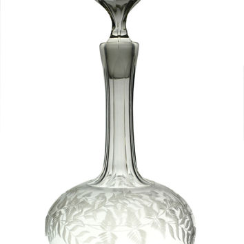 Fern Engraved Glass Wine or Liqueur Decanter Antique English circa 1900