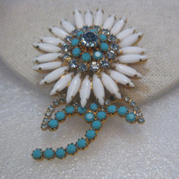 Vintage White Milk Glass & Turquoise Floral Blossom & Stem Brooch, signed Weiss, Gold Tone, 3""