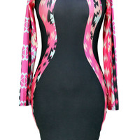 Long Sleeved Black Mini Dress with Tribal Patchwork Accent