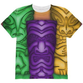 PEAPGQ9 Mardi Gras Tiki Glass Party All Over Youth T Shirt