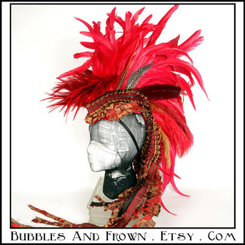 Fire in The Sky ... Feather Mohawk in Reds with Deconstructed Tapestry Train