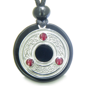 Amulet Celtic Triquetra Protection Knot Magic Circle Black Agate Pendant Necklace