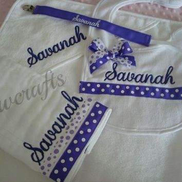 Personalized Burp Cloth Bib Pacifier Clip and Hooded Towel - Name and/or up to 3 Monograms