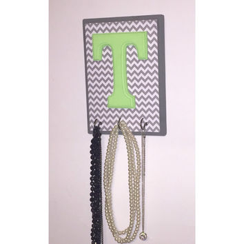 Gray Chevron Jewelry Organizer - Monogram Jewelry Holder - Necklace Holder - Monogram Jewelry Organizer - Green Jewelry Organizer - Jewelry