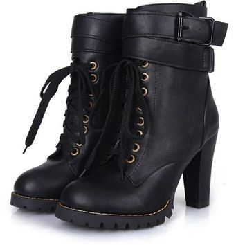 Black Round Toe Chunky Buckle Casual Ankle Boots