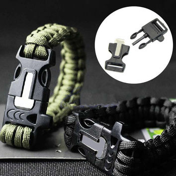 Survival Bracelet Outdoor Paracord Flint Fire Starter Scraper Whistle Gear Gift