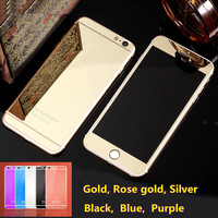 with logo 6 & 6s Front+Back Mirror Tempered Glass for iPhone 6 6s 4.7 inch Screen Protector Color Plate Film