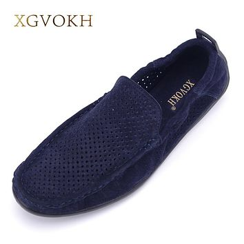 suede Leather driving moccasin Shoes solid super Breathable Men Loafers Slip-On Shoe Men casual shoes Men shoes summer hollow