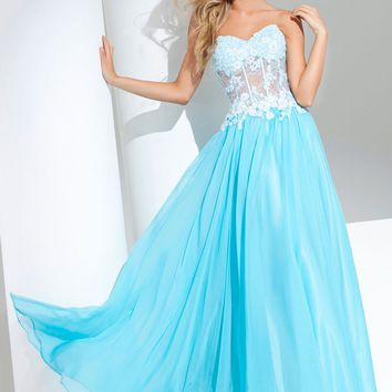Tony Bowls Le Gala 115573 Strapless Chiffon Gown