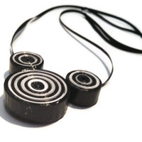 Black and White Licorice Allsorts Necklace - Chunky, Adjustable, Long, Paper Bead