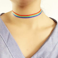 Colorful  Choker Necklace LGBT Clavicle Chain Ribbon Simple Necklace Gay Lesbian Pride Women Men Ribbon Collar