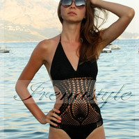 Crocheted Pineapple Design Monokini  BIKINI   crochet handmade , custom made,  Swim Suit