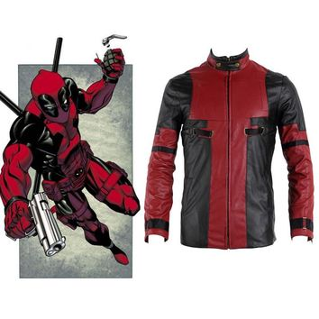 Deadpool Costume Wade Winston Wilson Marvel Superhero Series Daily Clothes Costume Cool Faxu Leather Jacket Men Zipper Outwear