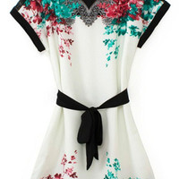 White Short Sleeve Floral Belted Dress - Sheinside.com