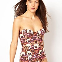Playful Promises Pansy Print Swimsuit at asos.com