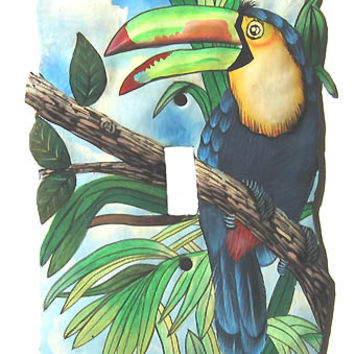 Light Switchplate Cover - Single- Hand Painted Metal Toucan Parrot - Haitian Steel Drum Art - S-1020 -1