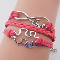 Jigsaw puzzle bracelet Infinity with love word jewelry,Watermelon red Suede rope Korea cotton leather,Wholesale,Graduation jewelry kid cuff